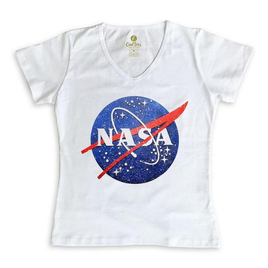 Camiseta Gola V Geek Cool Tees Nasa Vintage Feminina - Branco