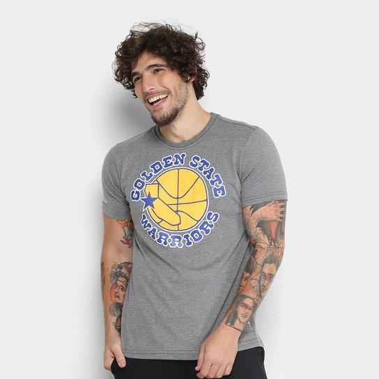 Camiseta Golden State Warriors Mitchell & Ness Big Logo Masculina - Cinza