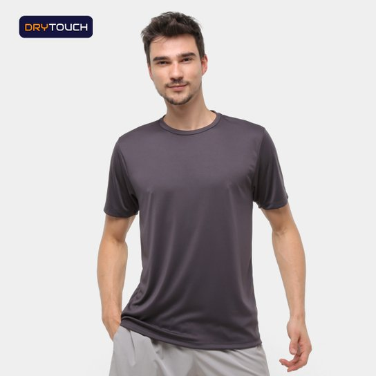 Camiseta Gonew Dry Touch Básica Workout Masculina - Chumbo
