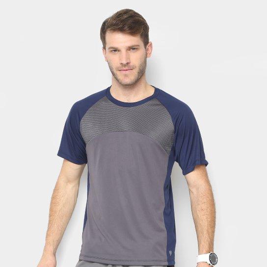 Camiseta Gonew Recorte Tela Masculina - Marinho+Cinza