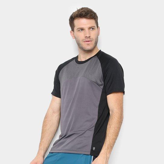 Camiseta Gonew Recorte Tela Masculina - Preto+Cinza