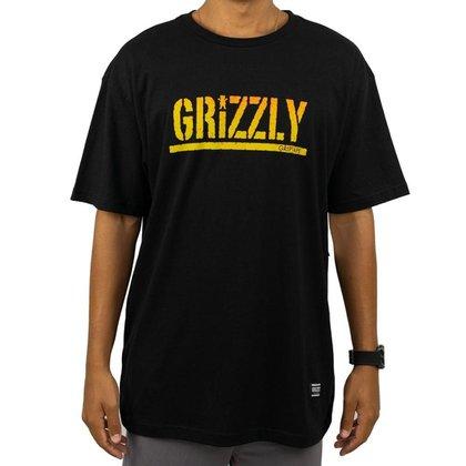 Camiseta Grizzly Stamp Fadeway Preta Masculina