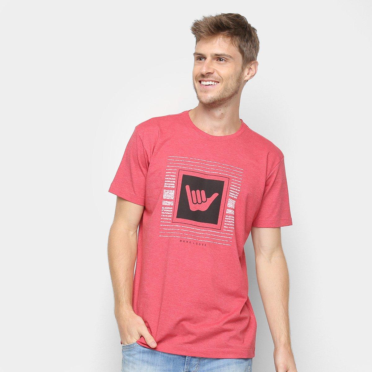 Camiseta Hang Loose Silk Logotop Masculina - Vermelho e Cinza ... 9bb4d6e57ddf6