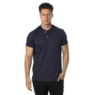Camiseta henley azul marinho regular fit