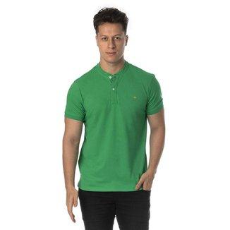 Camiseta henley verde slim fit