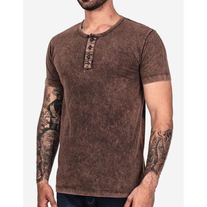 Camiseta Hermoso Compadre Henley Chocolate Stone Masculina