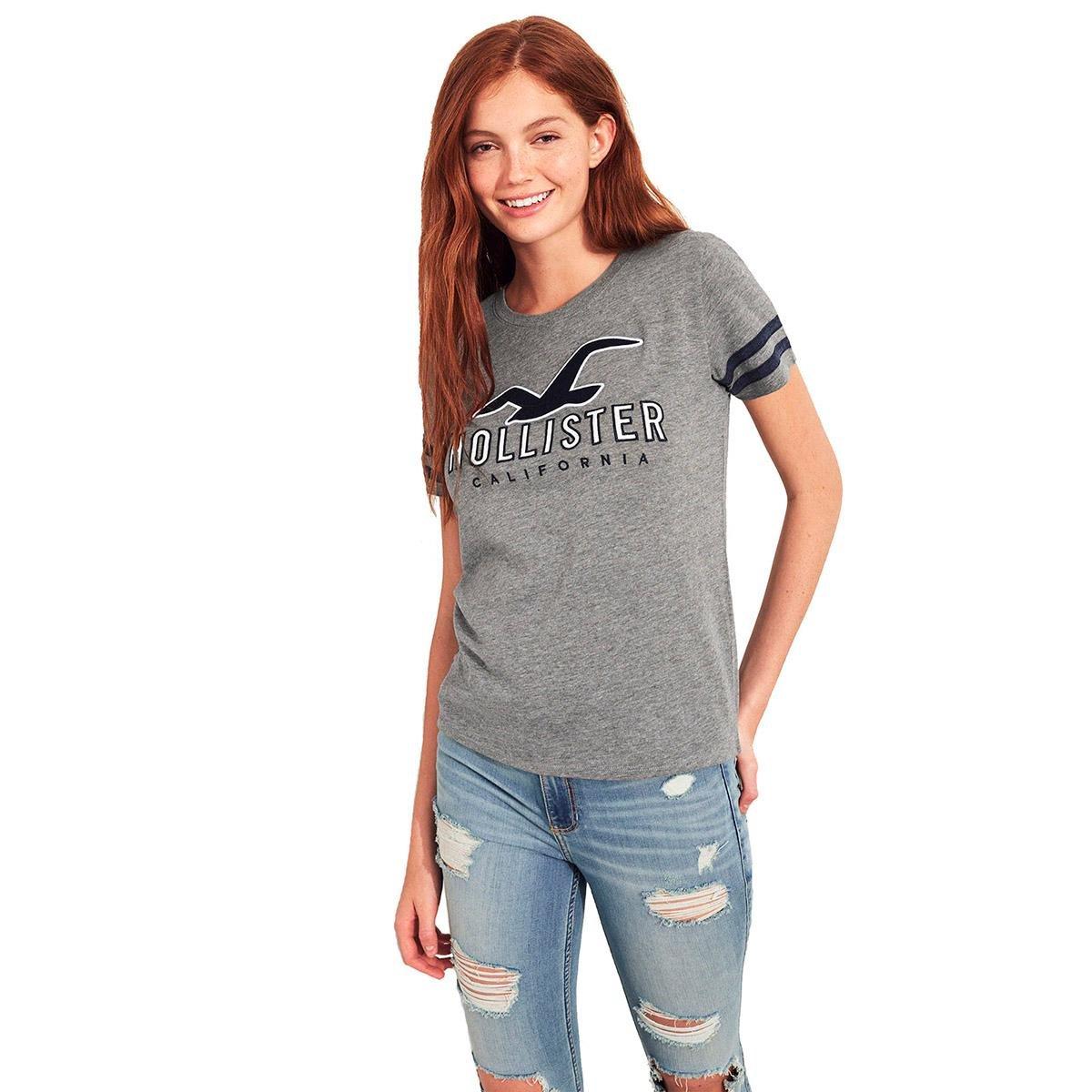 41507112d1 Camiseta Hollister Gráfica Feminina - Cinza - Compre Agora