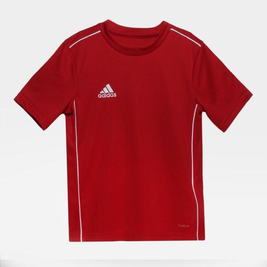 Camiseta Infantil Adidas Core 18 - Vermelho+Branco