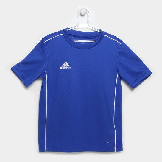 Camiseta Infantil Adidas Core 18 - Azul+Branco