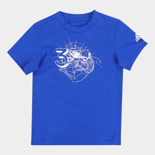Camiseta Infantil Adidas Homem-Aranha 3S Masculina - Azul Royal+Branco