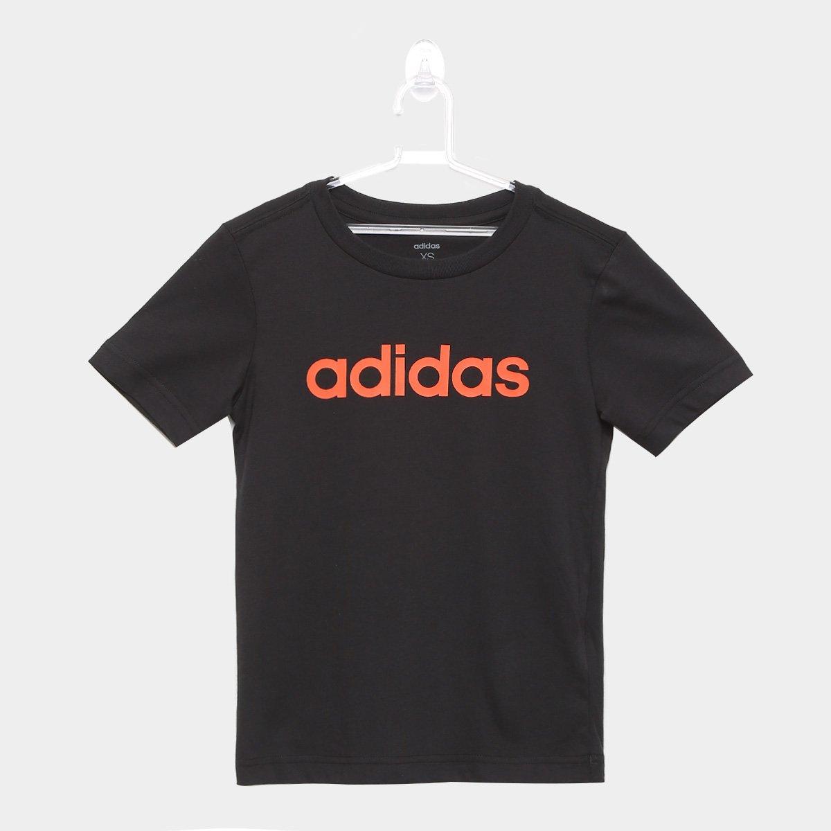 f429570a9d1ab Camiseta Infantil Adidas YB LIN TEE Masculina - Preto e Laranja - Compre  Agora