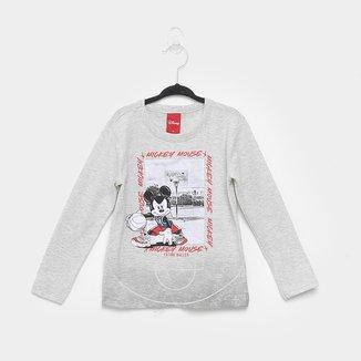 Camiseta Infantil Cativa Disney Mickey Baller Manga Longa Masculina