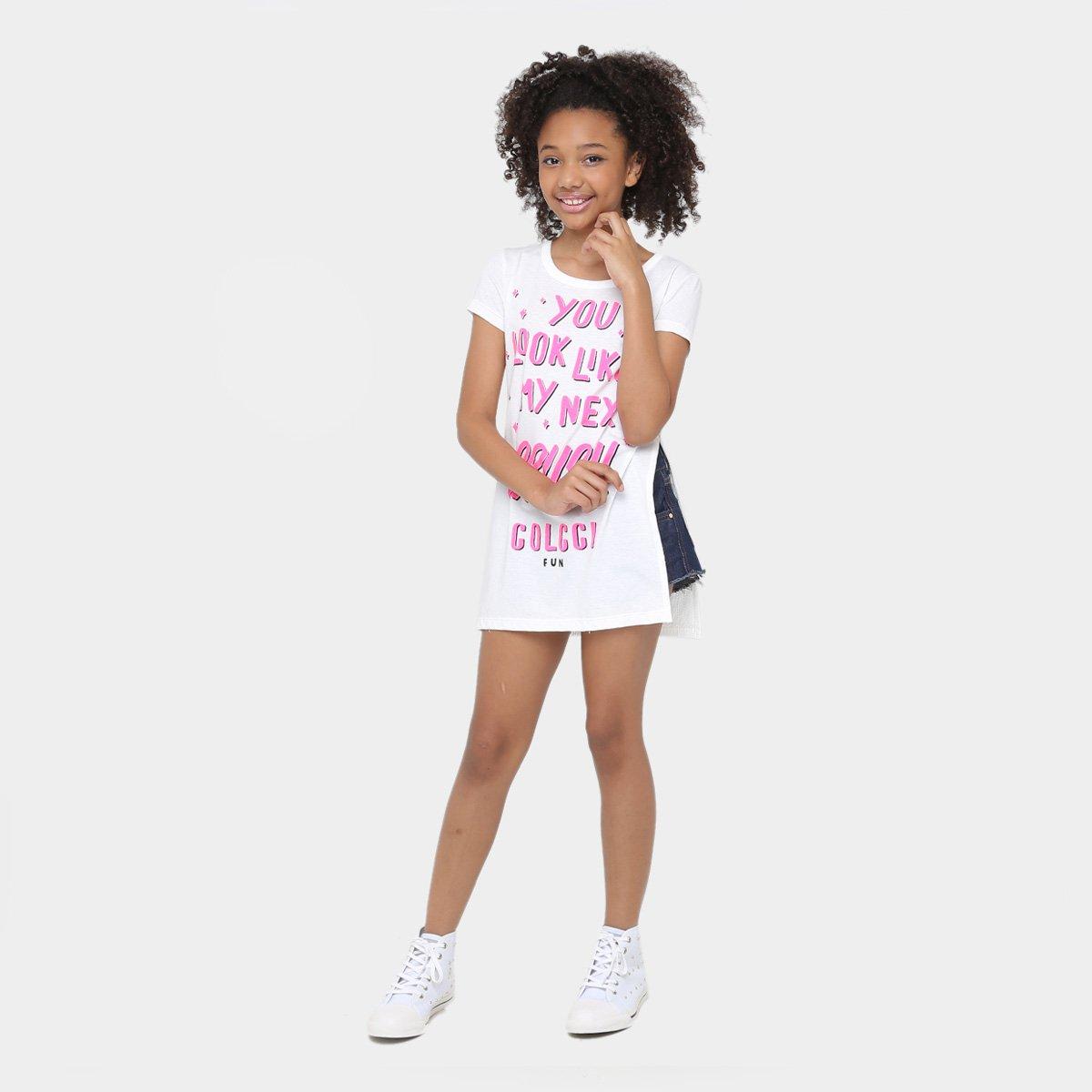 Camiseta Off Estampada Infantil Camiseta Feminina Infantil White Colcci Fun Colcci aqxAUEB
