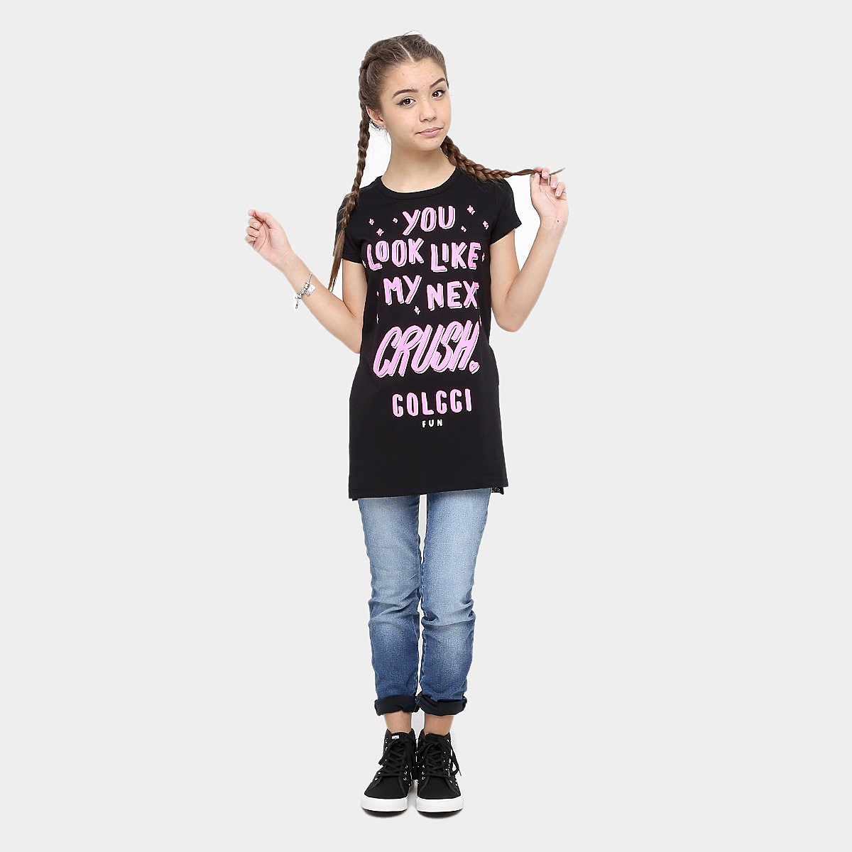 Camiseta Infantil Infantil Preto Camiseta Fun Estampada Colcci Feminina qq68r