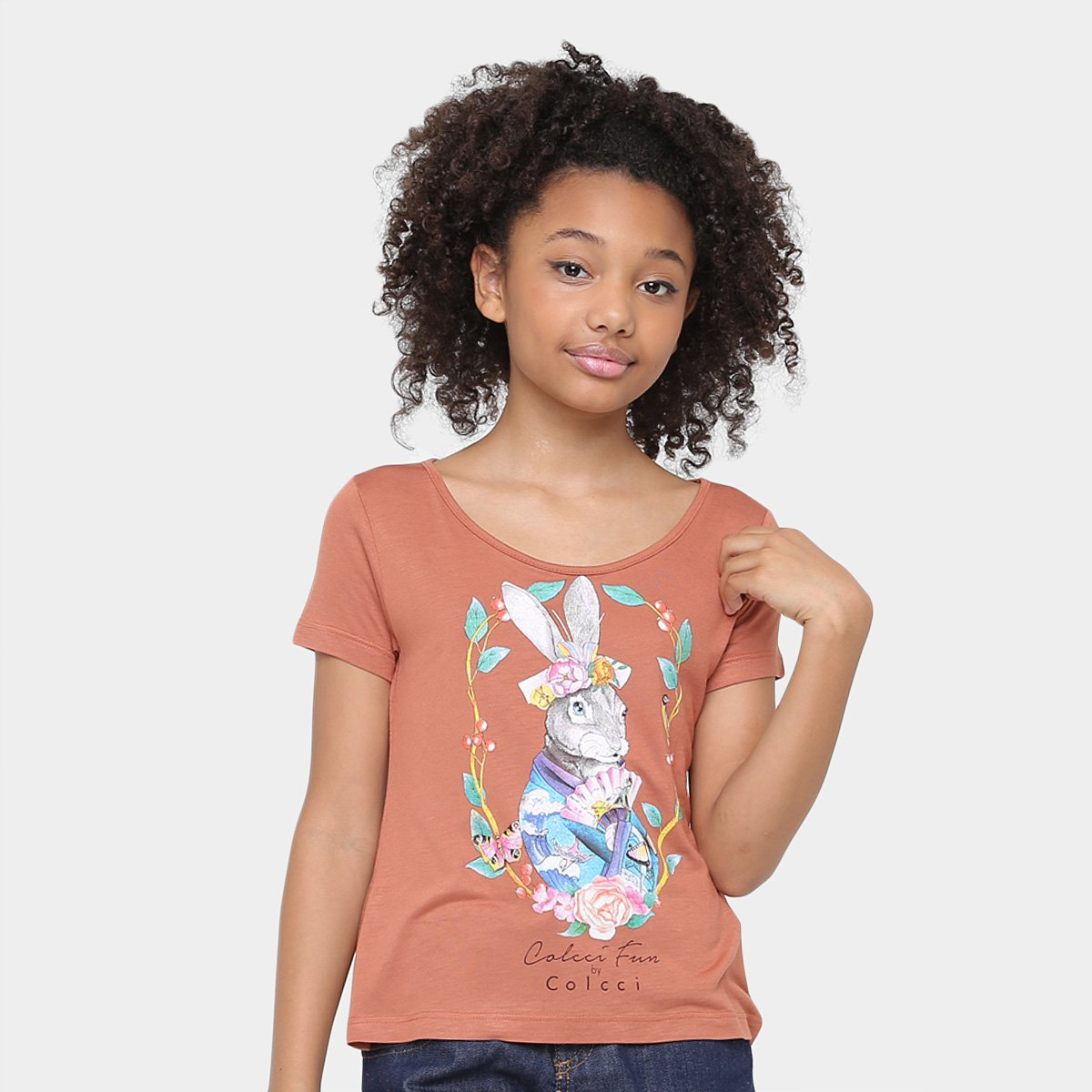 4fbf3cb20 Camiseta Infantil Colcci Marrom Estampada Feminina Fun Infantil Colcci  Camiseta Fun F4fdRq ...