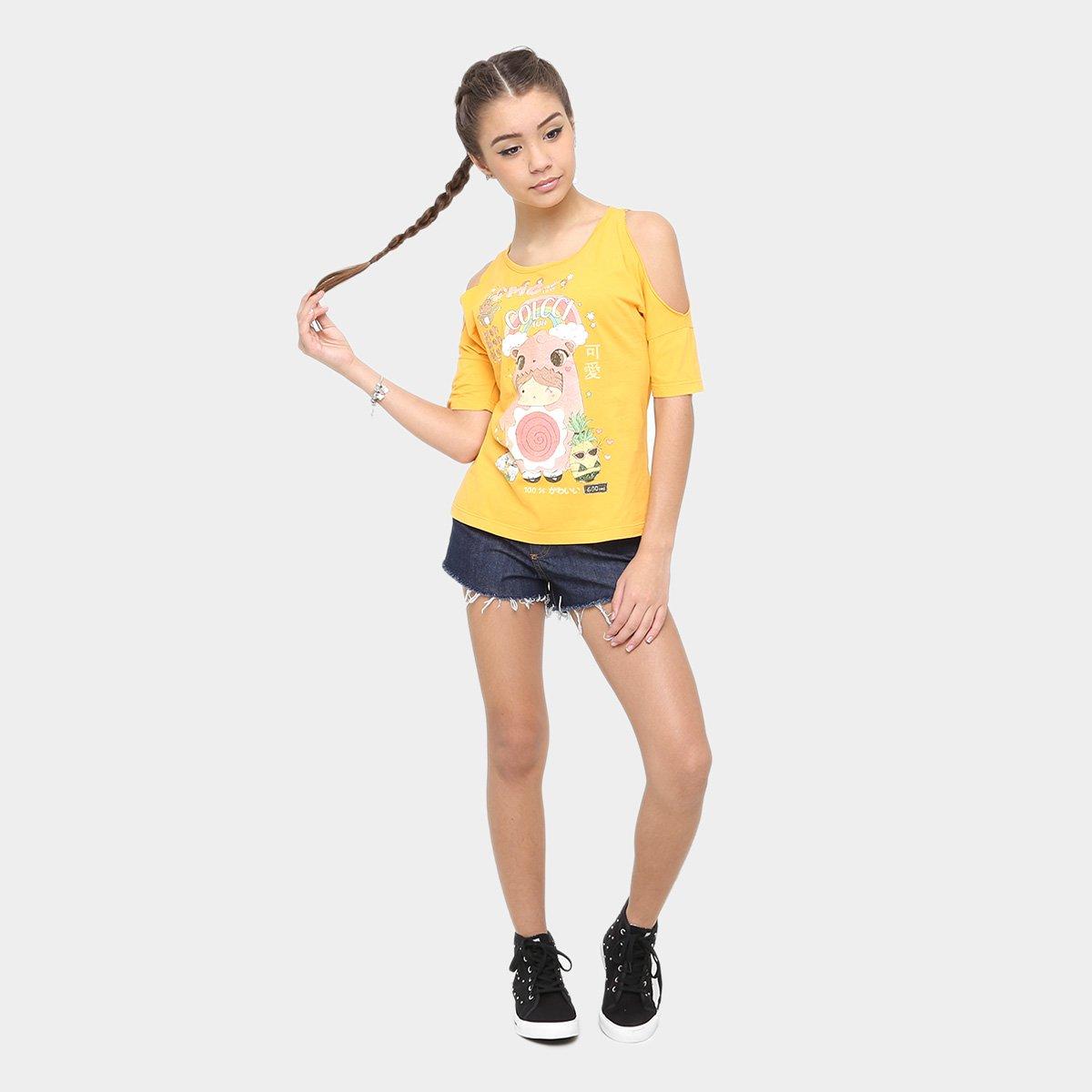 Fun Amarelo Camiseta Infantil Colcci Infantil Estampada Colcci Camiseta Fun Feminina Estampada SvwB1qw0
