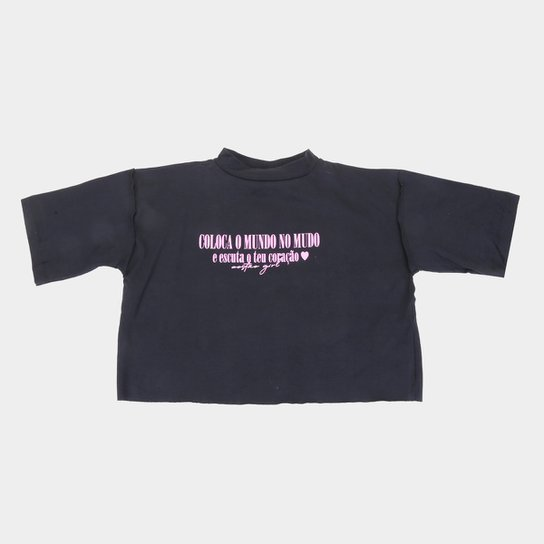 Camiseta Infantil Costão Poeta Feminina - Preto