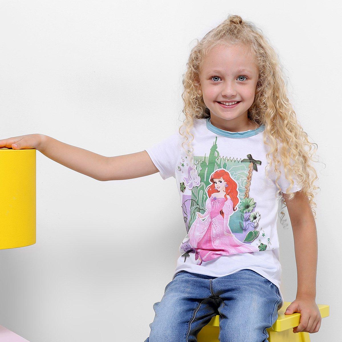 Feminina Camiseta Camiseta Branco Infantil Ariel Camiseta Branco Infantil Infantil Feminina Disney Disney Ariel Ariel Feminina Disney qUWawtR6A