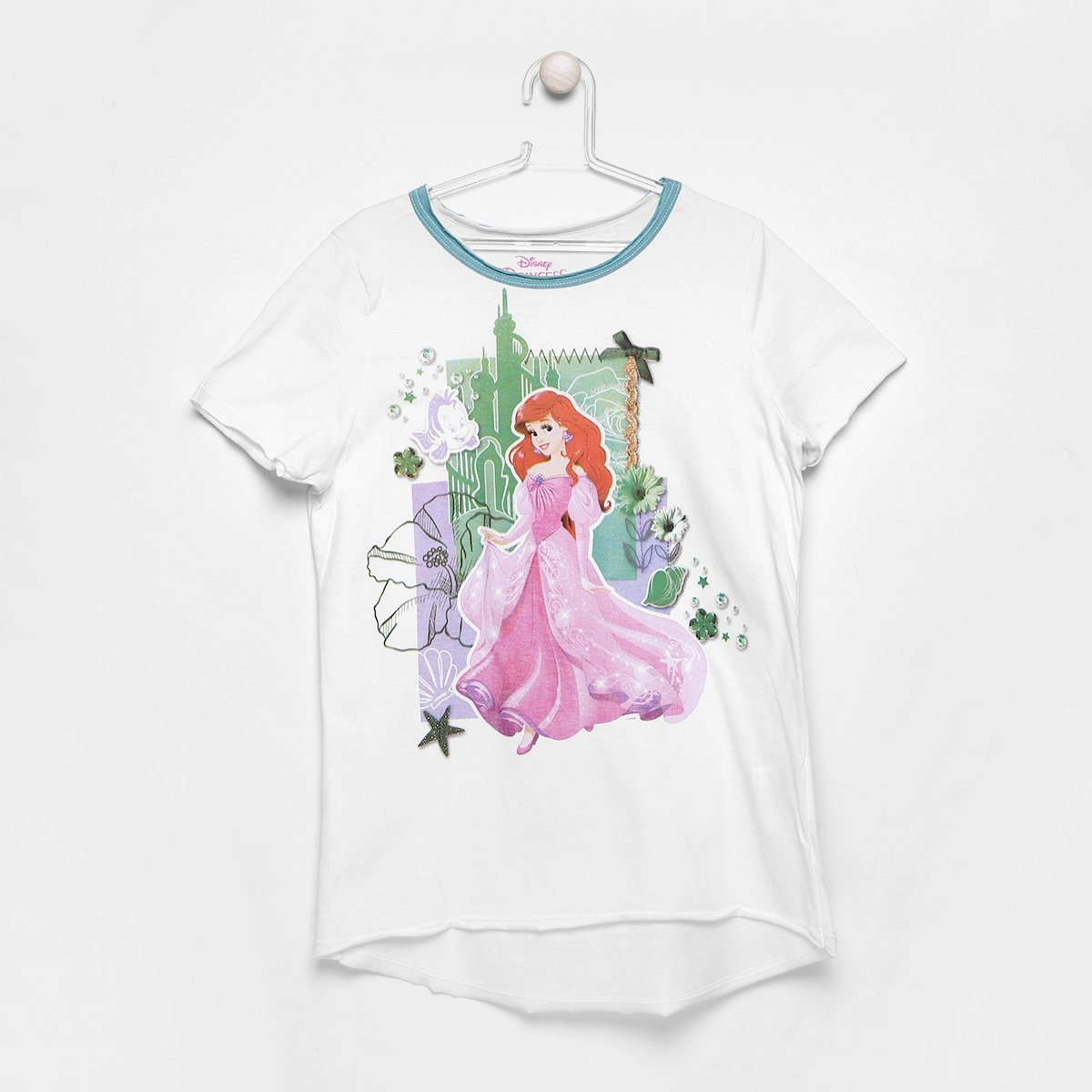 Camiseta Infantil Branco Infantil Disney Ariel Disney Feminina Camiseta Zrtrz