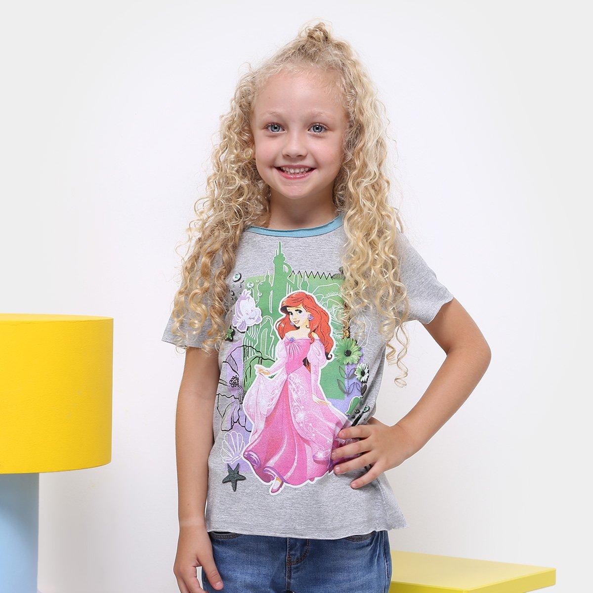 Camiseta Infantil Infantil Disney Disney Mescla Ariel Camiseta Feminina Ariel rArFWTq7n