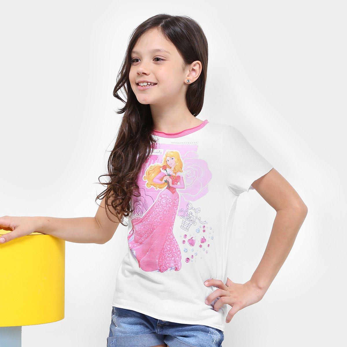 Camiseta Infantil Feminina Branco Disney Adormecida Disney Camiseta Bela Branco Adormecida Infantil Bela Feminina Camiseta CwRq4