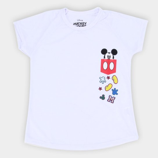 Camiseta Infantil Disney Mickey Pocket Masculina - Branco