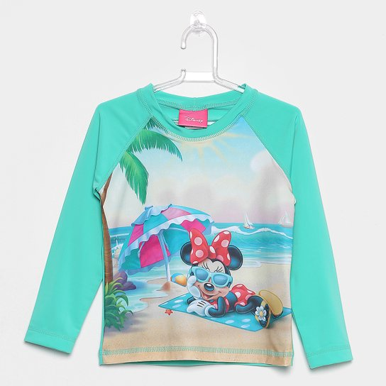 Camiseta Infantil Disney Tip Top Manga Longa Minnie Praia Menina - Verde