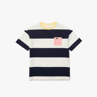 Camiseta infantil em algodão listrado com decote careca
