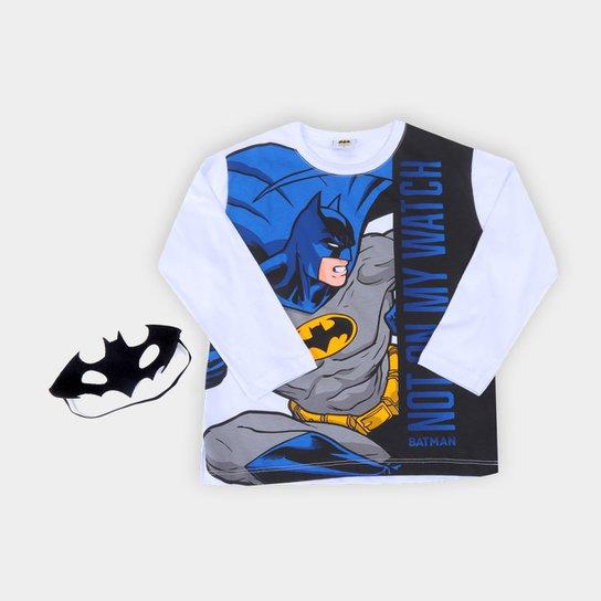Camiseta Infantil Fakini Batman Com Máscara Manga Longa - Branco