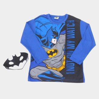 Camiseta Infantil Fakini Batman Com Máscara Manga Longa