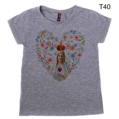 Camiseta Infantil Feminina Nossa Senhora de Fátima Flor T40