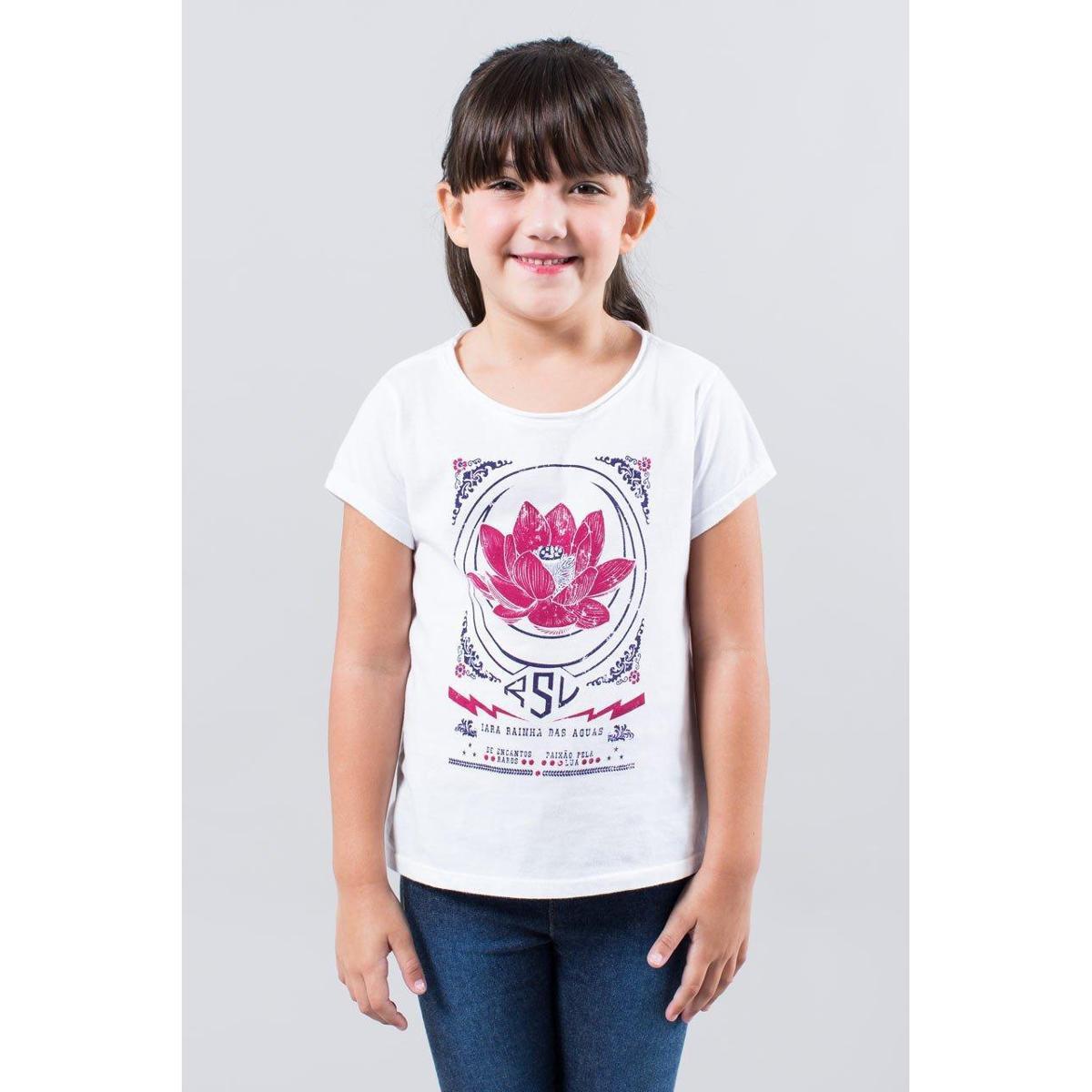 Camiseta Infantil Flor De Lotus Reserva Mini Feminina - Branco ... 1639b3097f