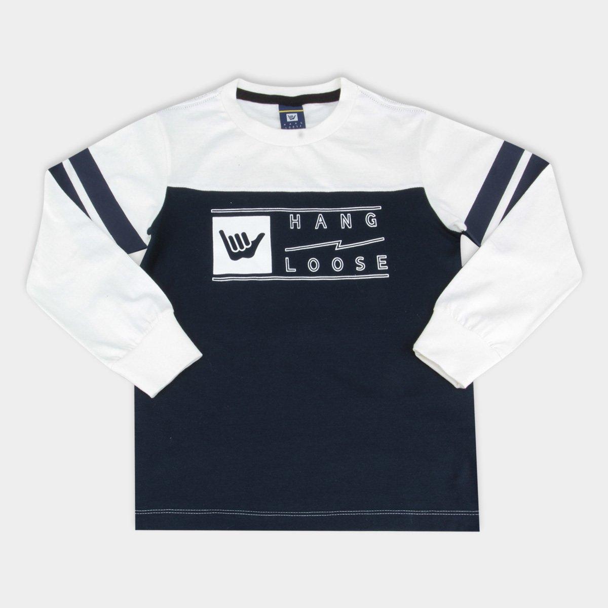 74b964aaa6df5 Camiseta Infantil Hang Loose Manga Longa Estampada Masculina - Branco e  Marinho - Compre Agora