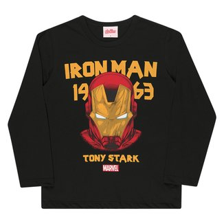 Camiseta Infantil Kamylus Homem de Ferro Manga Longa Masculina