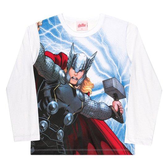 Camiseta Infantil Kamylus Marvel By Kamylus Thor Manga Longa Masculina - Branco