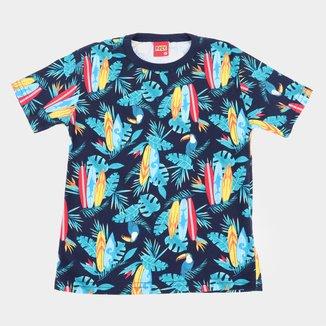 Camiseta Infantil Kyly Folhagens e Tucanos Masculina