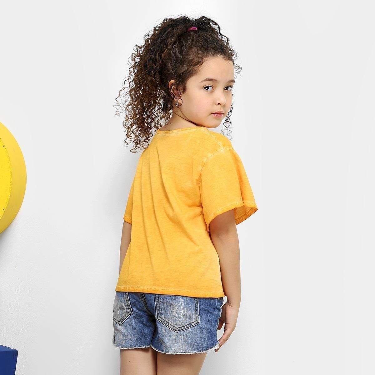 Infantil Lilica Camiseta Estonada Ripilica Estonada Laço Laço Ripilica Amarelo Camiseta Infantil Feminina Lilica xqw0xfYZ
