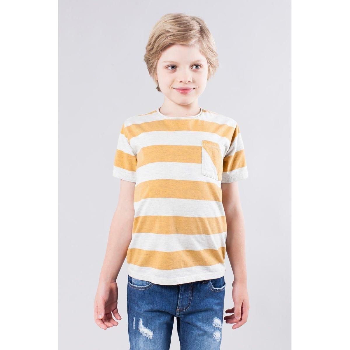 3f8e2fc998 Camiseta Infantil Listrao Reserva Mini Masculina - Branco e Amarelo - Compre  Agora