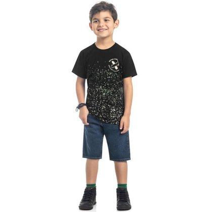 Camiseta Infantil Manga Curta Detalhes Neon Skate Tam 4 a 10 - Kamylus