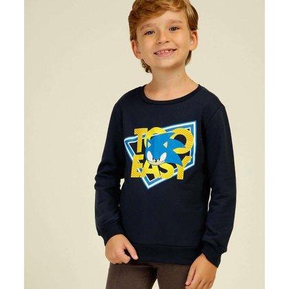 Camiseta Infantil Manga Longa Estampado Sonic Tam 4 A 10 - 10045555138