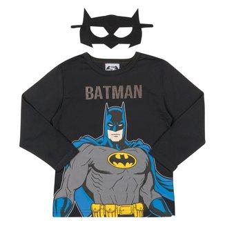 Camiseta Infantil Marlan Batman Manga Longa Com Máscara