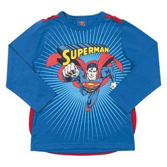 Camiseta Infantil Marlan Superman Manga Longa Com Capa Removível