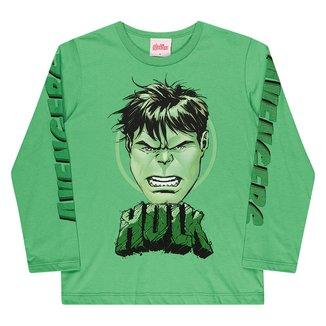 Camiseta Infantil Marvel By Kamylus Hulk Manga Longa Masculina