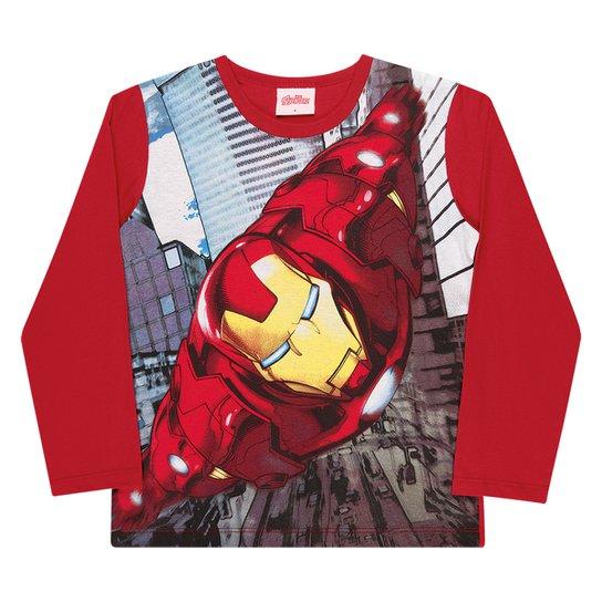 Camiseta Infantil Marvel By Kamylus Os Vingadores Manga Longa Masculina - Vermelho