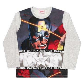 Camiseta Infantil Marvel Capitão América Manga Longa Masculina