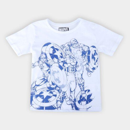 Camiseta Infantil Marvel Capitão América Masculina - Branco