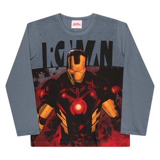 Camiseta Infantil Marvel Homem De Ferro Manga Longa Masculina
