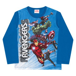 Camiseta Infantil Marvel Os Vingadores Manga Longa Masculina