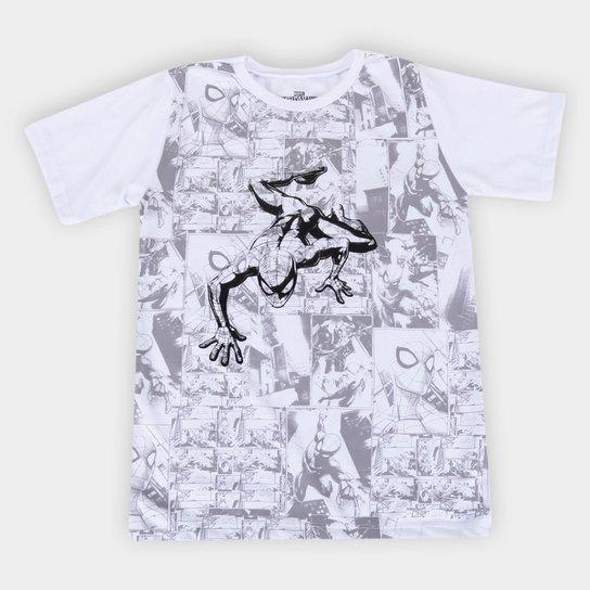 Camiseta Infantil Marvel Spider Man Masculina - Branco