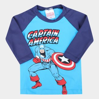 Camiseta Infantil Marvel Vingadores UV50+ Manga Longa Masculina